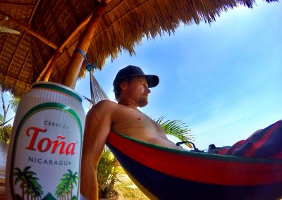 Relaxing after a day of surfing.