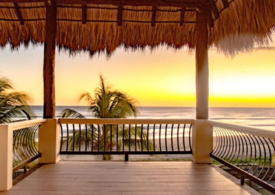 Beachfront Vacation Rental deck with view.